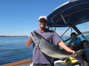 Tyee, 32 pounds. Caught off Thrasher Rock.